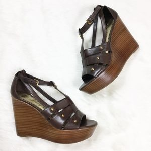 Juicy Couture Wooden Wedge Heels Leather sz. 6.5